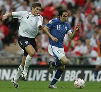 Photo: Lee Earle.<br /> England v Israel. UEFA European Championships Qualifying. 08/09/2007.England's Steven Gerrard (L) and Yossi Benayoun.