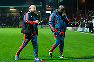 Brentford Head Coach Lee Carsley and assistant Paul Williams leave the fiels at half time the Sky Bet Championship match between Brentford and Hull City at Griffin Park, London<br /> Picture by Mark D Fuller/Focus Images Ltd +44 7774 216216<br /> 03/11/2015