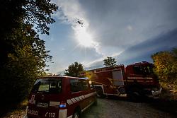 Gasenje pozara med vasema Branik in Komen, August 6, 2017,  Komen, Kras, Slovenia. Photo by Grega Valancic/ Sportida