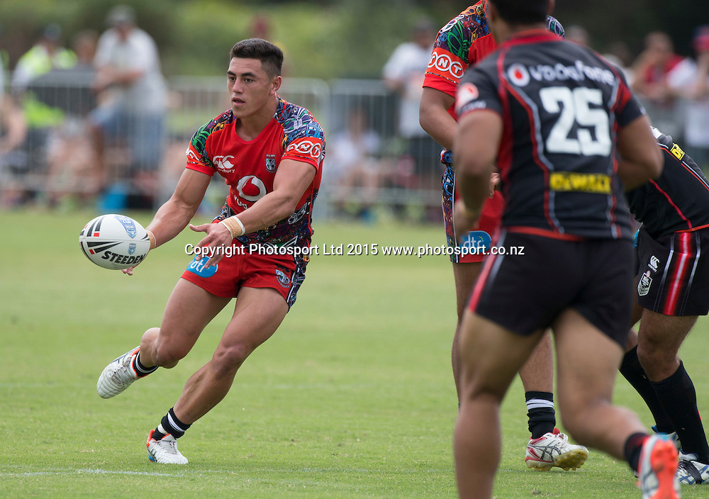 Nathaniel Roache in action for the Vodafone Junior Warriors  before the Warriors NRL v Warriors NSW Cup Trial Match,  held at Bruce Pulman Park in Papakura, South Auckland  on 21 February 2015. <br /> Credit; Peter Meecham/ www.photosport.co.nz