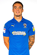 AFC Wimbledon attacker Tommy Wood (22) during the official team photocall for AFC Wimbledon at the Cherry Red Records Stadium, Kingston, England on 8 August 2019.