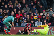 Henrikh Mkhitaryan (Arsenal) ball saved by Asmir Begovic (GK) (Bournemouth) during the Premier League match between Bournemouth and Arsenal at the Vitality Stadium, Bournemouth, England on 25 November 2018.