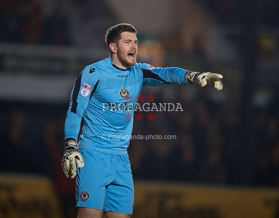 NEWPORT, WALES - Wednesday, December 21, 2016: Newport County goalkeeper Joe Day in action against Plymouth Argyle during the FA Cup 2nd Round Replay match at Rodney Parade. (Pic by David Rawcliffe/Propaganda)