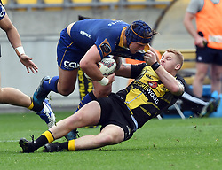 Wellington's Regan Verney drags down opposite, Otago's Teihorangi Walden in the Mitre 10 Rugby match at Westpac Stadium, Wellington, New Zealand, Sunday October 01,, 2017. Credit:SNPA / Ross Setford  **NO ARCHIVING**