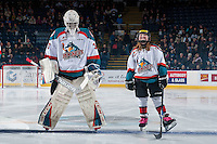 KELOWNA, CANADA - JANUARY 21: Michael Herringer #30 of the Kelowna Rockets lines up beside the Pespi Player against the Portland Winterhawks on January 21, 2017 at Prospera Place in Kelowna, British Columbia, Canada.  (Photo by Marissa Baecker/Shoot the Breeze)  *** Local Caption ***