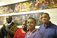 "Seeing with Photography Collective photographers (L to R) Dale Layne, Tameka Cooper, Marion Sheppard, and Hasheem Kirkland, at Artist Reception for SWPC, a group of visually impaired, sighted and totally blind photographers based in NYC, on Saturday, April 28, 2012, at African American Museum, Hempstead, New York, USA, and hosted by Long Island Center of Photography. Aperture published the group's ""Shooting Blind: Photographs by the Visually Impaired"" in 2005."