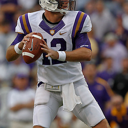 October 22, 2011; Baton Rouge, LA, USA; LSU Tigers quarterback Jarrett Lee (12) against the Auburn Tigers during the second half at Tiger Stadium. LSU defeated Auburn 45-10. Mandatory Credit: Derick E. Hingle-US PRESSWIRE / © Derick E. Hingle 2011