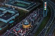 Nederland, Noord-Holland, Amsterdam, 16-01-2014; Amsterdam-Zuidoost, Foodstrip Amsterdam (KFC, Burger King). Naast de strip de Penitentiaire Inrichting (PI) Amsterdam locatie Tafelbergweg (voorheen grenshospitium).<br /> Foodstrip Amsterdam, fast food, Hotel Fletcher. <br /> aerial photo (additional fee required);<br /> copyright foto/photo Siebe Swart.