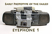Humorous image of a phone, radio, cassette player, camera device,