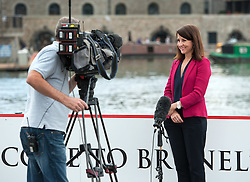 © Licensed to London News Pictures. 16/08/2015. Bristol, UK.  LIZ KENDALL, talks to Sky News.  She is one of the four Labour leadership candidates and was in Bristol to give a talk to Labour supporters at the Great Eastern Hall, next to the SS Great Britain in Bristol City Harbourside. Photo credit : Simon Chapman/LNP