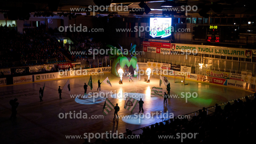 John Hughes (HDD Tilia Olimpija, #72) during ice-hockey match between HDD Tilia Olimpija and EHC Liwest Black Wings Linz at fourth match in Semifinal  of EBEL league, on March 13, 2012 at Hala Tivoli, Ljubljana, Slovenia. (Photo By Matic Klansek Velej / Sportida)