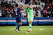PSG Gianluigi Buffon celebrates with teammate Marquinhos after winning the French championship L1 football match between Paris Saint-Germain (PSG) and Caen on August 12th, 2018 at Parc des Princes, Paris, France - Photo Geoffroy Van der Hasselt / ProSportsImages / DPPI