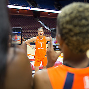 UNCASVILLE, CONNECTICUT- May 2:   Rachel Banham #1 of the Connecticut Sun is photographed by team mates Chiney Ogwumike #13 of the Connecticut Sun and Courtney Williams #10 of the Connecticut Sun at the Connecticut Sun media day at Mohegan Sun Arena on May 2, 2018 in Uncasville, Connecticut. (Photo by Tim Clayton/Corbis via Getty Images)