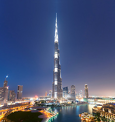 Night view of Burj Khalifa tower world's tallest building in Dubai United Arab Emirates