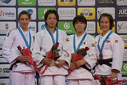 Gold medalist Lien Chen-Ling (2nd L) of Chinese Taipei, silver medalist Viola Waechter (L) of Germany with bronze medalists Momo Amaoki (2nd R) of Japan and Marti Malloy (R) of USA attend the award ceremony for women's -57 kg category at Grand Prix Budapest 2015 in Budapest, Hungary on June 13, 2015. EXPA Pictures © 2015, PhotoCredit: EXPA/ Photoshot/ Attila Volgyi<br /> <br /> *****ATTENTION - for AUT, SLO, CRO, SRB, BIH, MAZ only*****