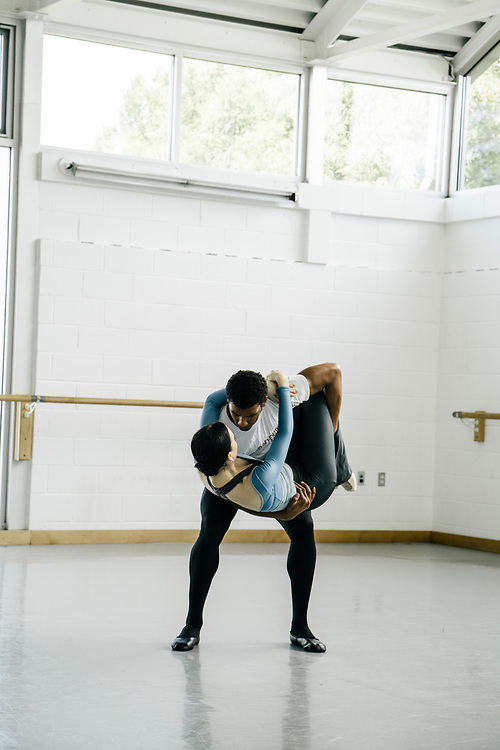 Dancers Sarah Steele and Gian Carlos Perez of the Washingon Ballet work on thier choreography during rehearsals for Frontier on May 3, 2017. The piece is Julie Kent's' first commission as new director'. The ballet is about space exploration, and the costumes, designed by Ted Southern of Final Frontier Design, look similar to what astronauts wear.