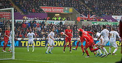 SWANSEA, WALES - Sunday, May 1, 2016: Liverpool's Christian Benteke [hidden] scores the first goal against Swansea City during the Premier League match at the Liberty Stadium. (Pic by David Rawcliffe/Propaganda)