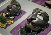 Samurai masks and helmets can be found in the museum inside the main keep of Matsue Castle, Matsue City, Shimane Prefecture, Japan on 26 June 2011. The city's castle, which is one of only 12 originals that remain from medieval times, this year celebrates the 400th anniversary of its completion..Photographer: Robert Gilhooly