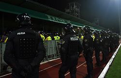 Police at 1st football game of 2nd Qualifying Round for UEFA Champions league between NK Domzale vs HNK Dinamo Zagreb, on July 30, 2008, in Domzale, Slovenia. Dinamo won 3:0. (Photo by Vid Ponikvar / Sportal Images)