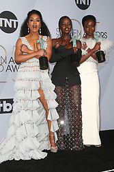 LOS ANGELES, CA - JANUARY 27: Rachel Brosnahan at The 25th Annual Screen Actors Guild Awards - Press Room at the Shrine Auditorium in Los Angeles, California on January 27th, 2019. 27 Jan 2019 Pictured: Angela Basset, Lupita Nyong'o, Danai Gurira. Photo credit: MPIFS/Capital Pictures / MEGA TheMegaAgency.com +1 888 505 6342