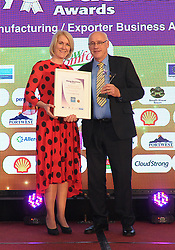 Cow Comfort Ltd Belmullet was the winner of the Manufacturing Exporter Business Award at the Mayo Business Award on friday night at the Broadhaven Hotel Belmullet. Tom Duffy accecpted the award from Bank Of Ireland.<br /> Pic Conor McKeown