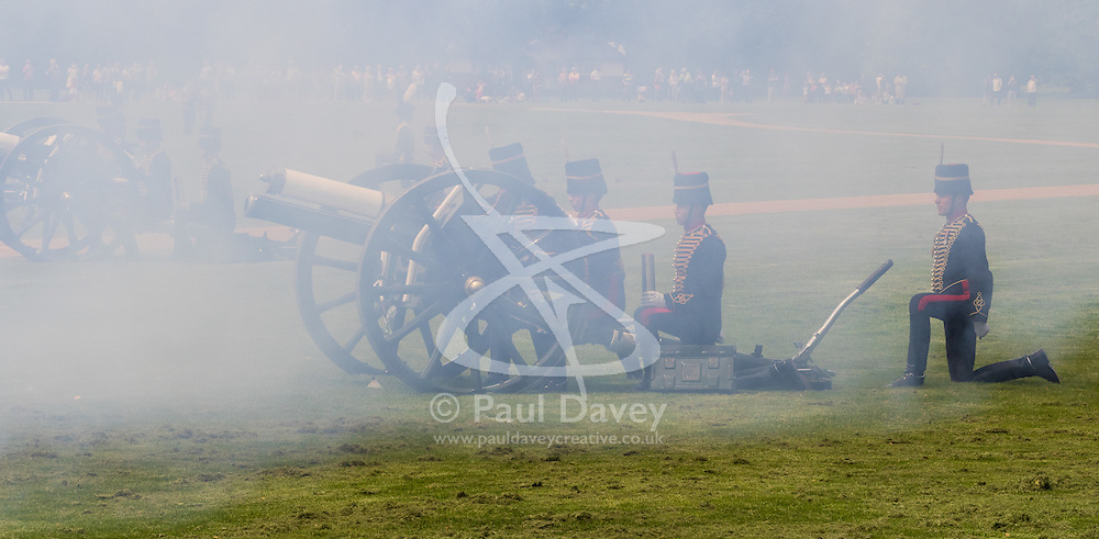 Hyde Park, London, June 10th 2016. As  part of the double celebration of HM The Queen and her Husband HRH Prince Philip, the King's Troop Royal Horse Artillery fire a 41 gun salute in honour of Prince Philip's 95th birthday in London's Hyde Park. PICTURED: Reminiscent of battles  fought long ago, clouds of smoke shroud the King's Troop Royal Horse Artillery.