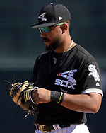 GLENDALE, ARIZONA - MARCH 04:  Jose Abreu #79 of the Chicago White Sox looks on against the San Diego Padres on March 4, 2018 at Camelback Ranch in Glendale Arizona.  (Photo by Ron Vesely)  Subject:   Jose Abreu