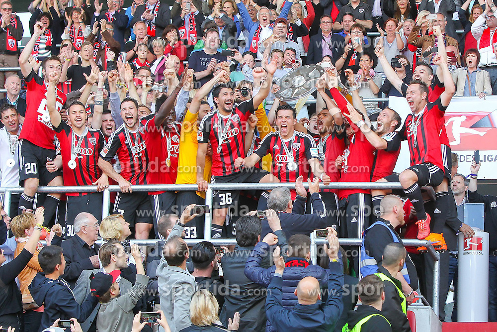 17.05.2015, Audi Sportpark, Ingolstadt, GER, 2. FBL, FC Ingolstadt 04 vs RB Leipzig, 33. Runde, im Bild Die Spieler des FC Ingolstadt praesentieren ihren Fans die Zweitligaschale // during the 2nd German Bundesliga 33th round match between FC Ingolstadt 04 and RB Leipzig at the Audi Sportpark in Ingolstadt, Germany on 2015/05/17. EXPA Pictures &copy; 2015, PhotoCredit: EXPA/ Eibner-Pressefoto/ Strisch<br /> <br /> *****ATTENTION - OUT of GER*****