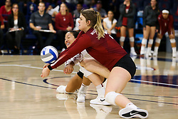 October 7, 2018 - Tucson, AZ, U.S. - TUCSON, AZ - OCTOBER 07: Washington State Cougars outside hitter McKenna Woodford (5) hits the ball during a college volleyball game between the Arizona Wildcats and the Washington State Cougars on October 07, 2018, at McKale Center in Tucson, AZ. Washington State defeated Arizona 3-2. (Photo by Jacob Snow/Icon Sportswire) (Credit Image: © Jacob Snow/Icon SMI via ZUMA Press)