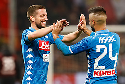 November 11, 2018 - Genoa, Italy - Dries Mertens (L) and Lorenzo Insigne of Napoli celebrate victory during the Lega Seria A match between Genoa CFC and SSC Napoli on November 10, 2018 at Stadio Luigi Ferraris in Genoa, Italy. (Credit Image: © Mike Kireev/NurPhoto via ZUMA Press)