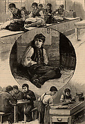 London Home for Boys, Stepney Causeway.  This was home for 300 deprived orphans and homeless boys from the streets of London.  As well as being provided with a bed and food and clothing, the boys were taught a trade such as tailoring, brush making or carpentry. From 'The Quiver' (London, 1883).