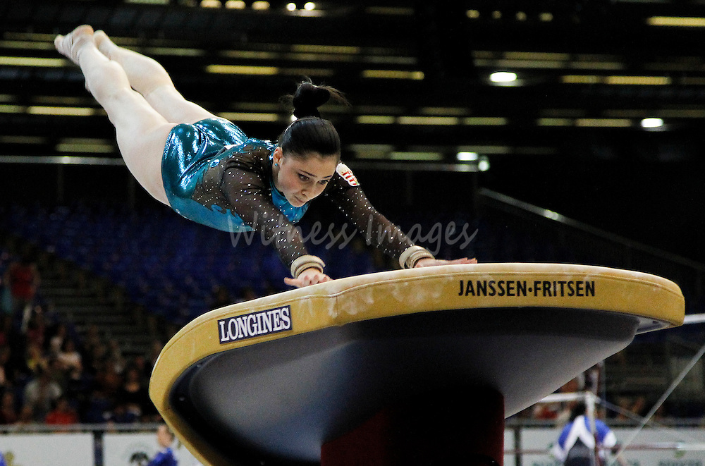 Hungarian Luca Diveki competes on vault during the qualification round of the Women Artistic Gymnastics European Championships in Brussels, Belgium, 10 Mail 2011.