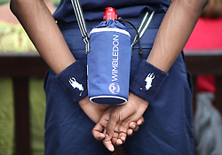 A detailed view of a Ball boys water bottle as he stands court side on day three of the Wimbledon Championships at the All England Lawn Tennis and Croquet Club, Wimbledon. PRESS ASSOCIATION Photo. Picture date: Wednesday July 4, 2018. See PA story TENNIS Wimbledon. Photo credit should read: Steven Paston/PA Wire. RESTRICTIONS: Editorial use only. No commercial use without prior written consent of the AELTC. Still image use only - no moving images to emulate broadcast. No superimposing or removal of sponsor/ad logos. Call +44 (0)1158 447447 for further information.