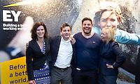 DEN HAAG - Max Caldas en Paul van Ass met Yolanda Valstar van Die en Caroline van den Berg van EY . KNHB Technisch Kader Congres ' Coach the game' bij EY in Den Haag. FOTO KOEN SUYK
