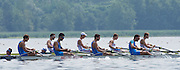 Varese, ITALY GBR BM4+, [ Bow. Sybren HOOGLAN, Tim GRANT, Will WARR, Callum MCBRIERTY. Cox Harry BRIGHTMORE] competing with ITA  FISA U23 World Championships. Held on Lake Varese  15:26:48  Wednesday  23/07/2014  [Mandatory Credit; Peter Spurrier/Intersport-images] 2014. Empacher. Varese.