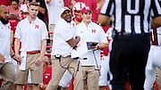Lincoln, NE - Sept 2: Nebraska Cornhuskers assistant coach Scot Booker celebrates during their game against the Arkansas State Red Wolves at Memorial Stadium in Lincoln Nebraska September 2 2017. Photo by Eric Francis