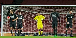 LONDON, ENGLAND - Friday, March 4, 2016: Liverpool's goalkeeper Shamal George looks dejected as Arsenal score the opening goal during the FA Youth Cup 6th Round match at the Emirates Stadium. (Pic by Paul Marriott/Propaganda)