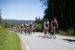 Cecile Ultrup Ludwig (DEN) of BMS Birn Team (M) covers an attack by Sharon Laws of Podium Ambition Cycling Team (R) in the last few hundred meters of the first KOM climb of the 117,5 km third stage of the 2016 Ladies' Tour of Norway women's road cycling race on August 13, 2016 between Svinesund, Sweden and Halden, Norway. (Photo by Balint Hamvas/Velofocus)