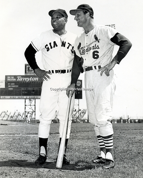 """San Francisco Giants Willie Mays and St.Louis Cardinals Stan """"The Man"""" Musial talking before the Giants Cardinal game at Candlestick Park in San Francisco. (1961 photo by Ron Riesterer)"""