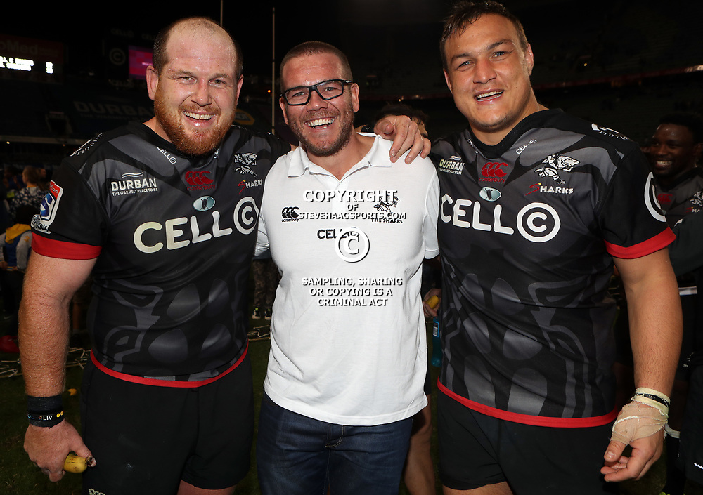 DURBAN, SOUTH AFRICA - MAY 27: Lourens Adriaanse with Jaco Pienaar (Assistant Coach) of the Cell C Sharks and Coenie Oosthuizen of the Cell C Sharks during the Super Rugby match between Cell C Sharks and DHL Stormers at Growthpoint Kings Park on May 27, 2017 in Durban, South Africa. (Photo by Steve Haag/Gallo Images)