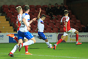 GOAL Jordan Williams shoots and scores 0-1 during the EFL Trophy match between Fleetwood Town and Rochdale at the Highbury Stadium, Fleetwood, England on 9 October 2018.