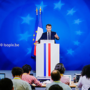 European Summit meeting of the EU heads of states and governments at the European Council headquarters . Press Conference of Emmanuel Macron at the end of the European Council . <br /> Pix : Emmanuel Macron