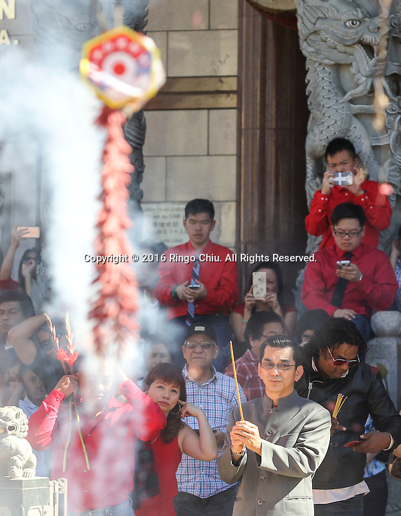 Firecrackers explode at the Thien Hau temple to celebrate the first day of the Chinese Lunar New Year, the Year of the Monkey, on Monday February 8, 2016, in Los Angeles.(Photo by Ringo Chiu/PHOTOFORMULA.com)<br /> <br /> Usage Notes: This content is intended for editorial use only. For other uses, additional clearances may be required.