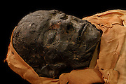 """GEORGES LABIT MUSEUM, TOULOUSE, FRANCE - MARCH 03 - EXCLUSIVE : A detail of the Egyptian mummy on March 3, 2009 in the Georges Labit Museum, Toulouse, France. The Egyptian mummy arrived in Toulouse in 1849, encased in a sarcophagus labelled """"In-Imen"""" from the 7th or 8th century BC. It is preserved at the Labit Museum since 1949. The mummy is now the subject of a very rare tissue sampling operation to determine its datation.  (Photo by Manuel Cohen)"""