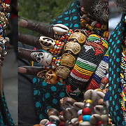 African Pride, heritage  and culture.  African male wearing colorful ornamental jewelry, rings,l beads and bracelets from Africa.