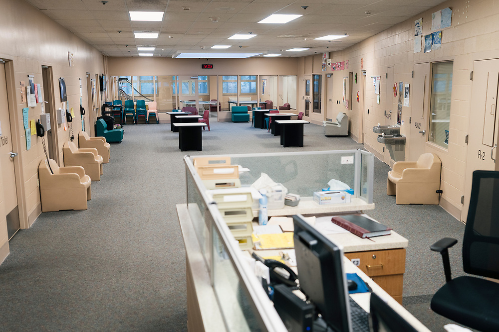A view of the common area inside the Juvenile Detention Center at the City County Building in Madison, Wisconsin, Wednesday, June 12, 2019.