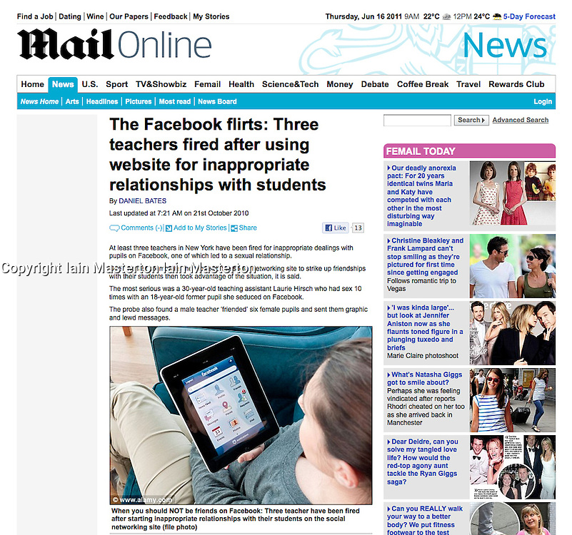 Daily Mail online ipad image