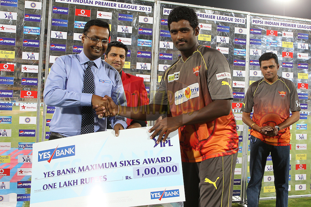 Thisara Perera receives the sixes award during match 3 of of the Pepsi Indian Premier League between The Sunrisers Hyderabad and The Pune Warriors held at the Rajiv Gandhi International  Stadium, Hyderabad  on the 5th April 2013..Photo by Ron Gaunt-IPL-SPORTZPICS..Use of this image is subject to the terms and conditions as outlined by the BCCI. These terms can be found by following this link:..http://www.sportzpics.co.za/image/I0000SoRagM2cIEc