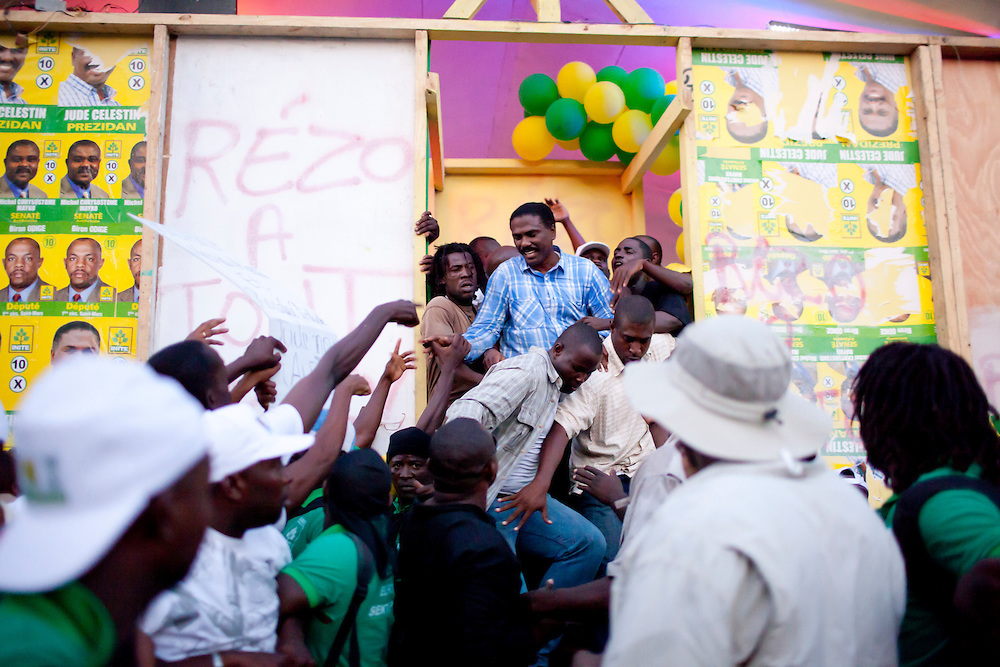 Haitian presidential candidate Jude Celestin campaigns on Thursday, November 25, 2010 in the Delmas neighborhood of Port-au-Prince, Haiti.