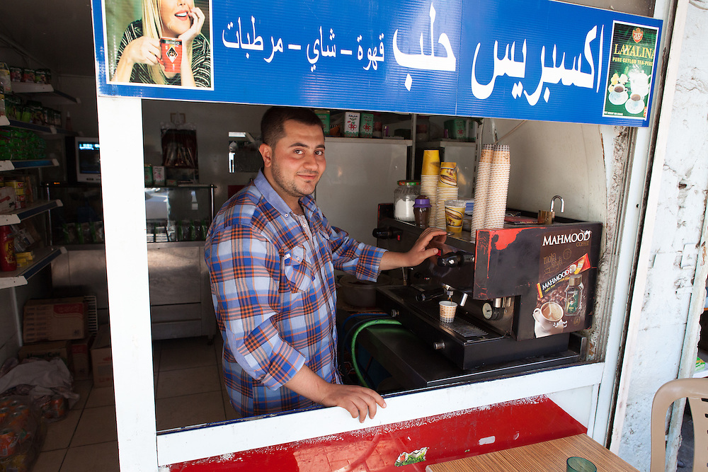 A Syrian coffee shop in the centre of the Turkish city of Gaziantep, near the Turkey-Syria border.